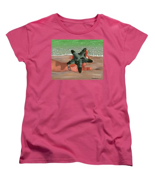 Women's T-Shirt (Standard Cut) featuring the painting The Find by Laura Forde