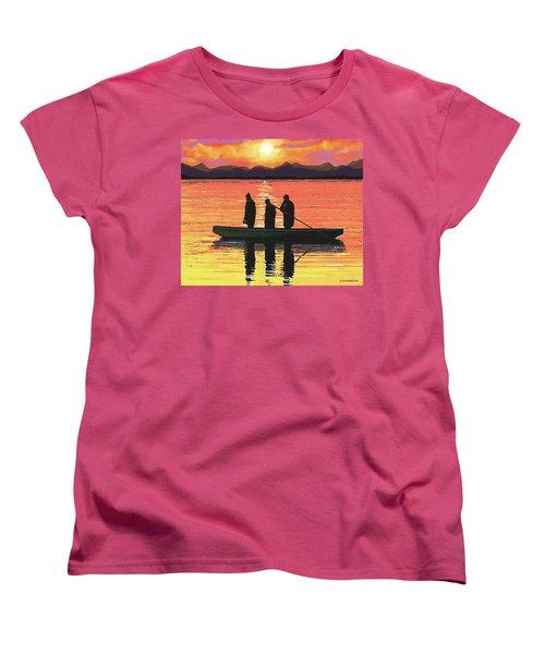 Women's T-Shirt (Standard Cut) featuring the painting The Fishermen by Sophia Schmierer