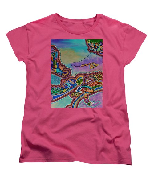 Women's T-Shirt (Standard Cut) featuring the painting The Genie Is Out Of The Bottle by Barbara St Jean