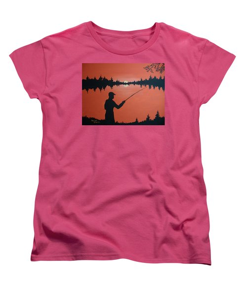 Women's T-Shirt (Standard Cut) featuring the painting The Golden Hour by Norm Starks