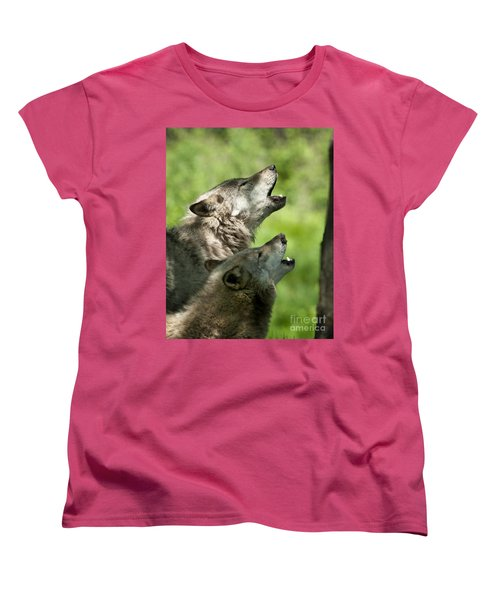 Women's T-Shirt (Standard Cut) featuring the photograph The Howling by Wolves Only