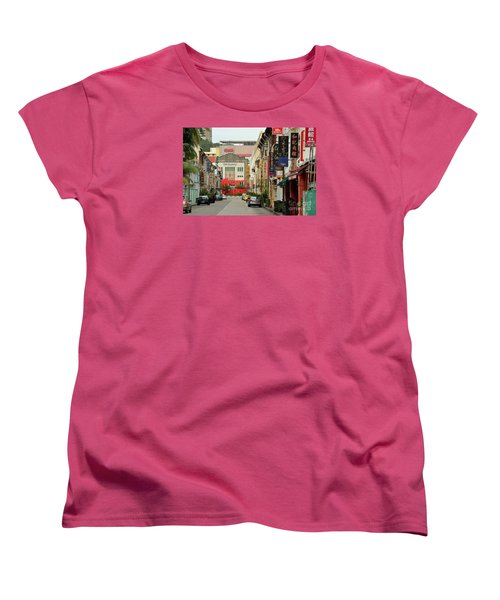 Women's T-Shirt (Standard Cut) featuring the photograph The Majestic Theater Chinatown Singapore by Imran Ahmed