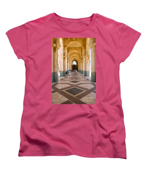 Women's T-Shirt (Standard Cut) featuring the photograph The Massive Colonnades At The Hassan II Mosque Sour Jdid Casablanca Morocco by Ralph A  Ledergerber-Photography