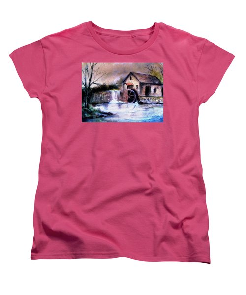 Women's T-Shirt (Standard Cut) featuring the painting The Millstream by Hazel Holland