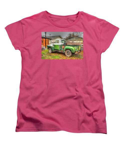 Women's T-Shirt (Standard Cut) featuring the photograph The Old Green Truck by Jim Thompson