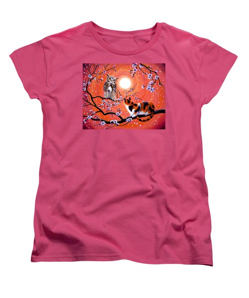 The Owl And The Pussycat In Peach Blossoms Women's T-Shirt (Standard Cut) by Laura Iverson