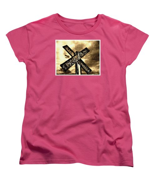 The Railroad Crossing Women's T-Shirt (Standard Cut) by Glenn McCarthy Art and Photography