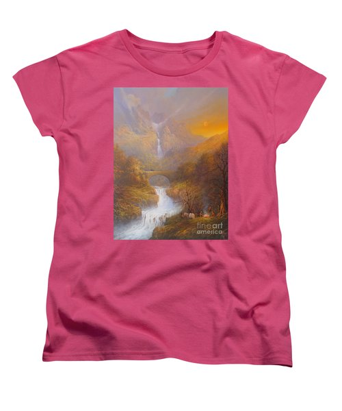 The Road To Rivendell The Lord Of The Rings Tolkien Inspired Art  Women's T-Shirt (Standard Cut) by Joe  Gilronan