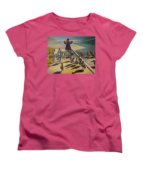 Women's T-Shirt (Standard Cut) featuring the painting The Sidewalk Religion by Thu Nguyen