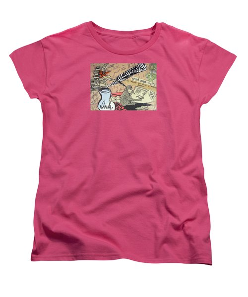 Women's T-Shirt (Standard Cut) featuring the drawing The Studious Rabbit And The Monkey by Eloise Schneider