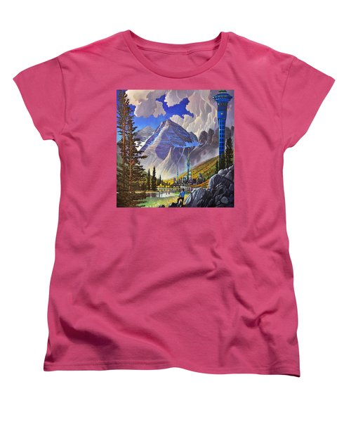 Women's T-Shirt (Standard Cut) featuring the painting The Three Towers by Art James West
