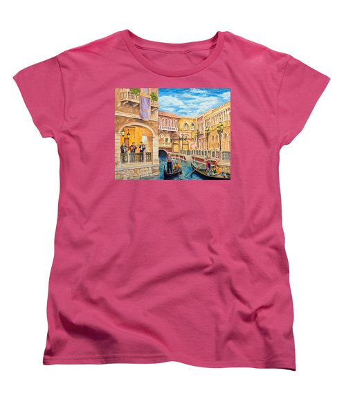 Women's T-Shirt (Standard Cut) featuring the painting The Venetian Canal  by Vicki  Housel