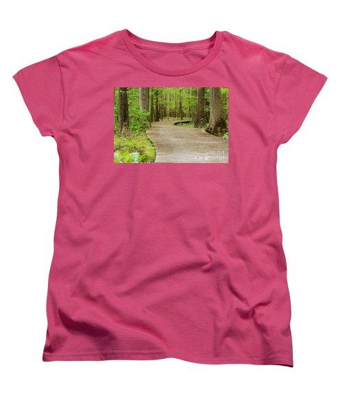 Women's T-Shirt (Standard Cut) featuring the photograph The Wooden Path by Patrick Shupert