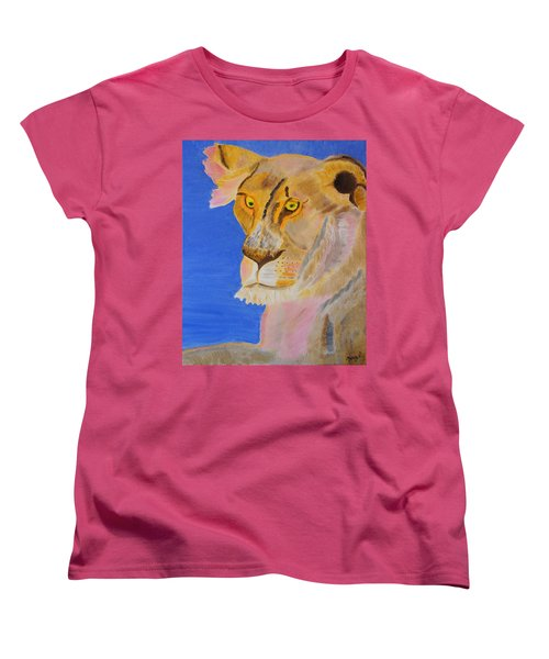 Women's T-Shirt (Standard Cut) featuring the painting Thoughts Of A Feline by Meryl Goudey