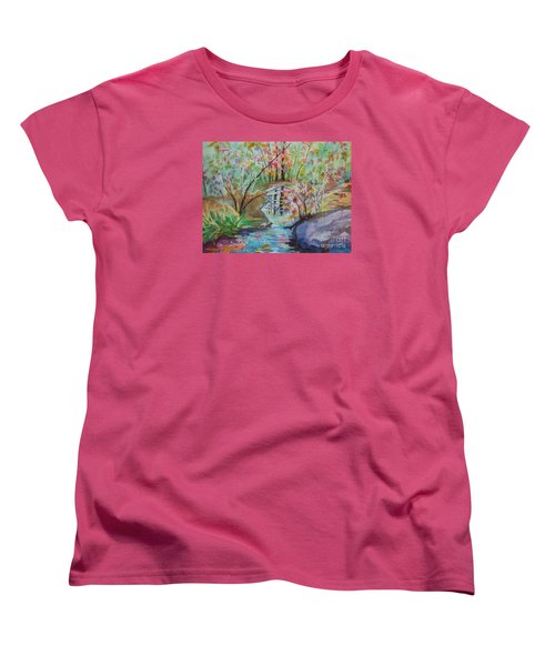 Women's T-Shirt (Standard Cut) featuring the painting Thunder Mountain Mystery by Ellen Levinson