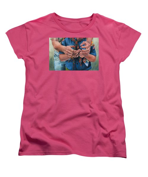 Women's T-Shirt (Standard Cut) featuring the painting Ties That Bind by Lori Brackett
