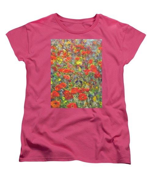 Tiptoe Through A Poppy Field Women's T-Shirt (Standard Cut) by Richard James Digance