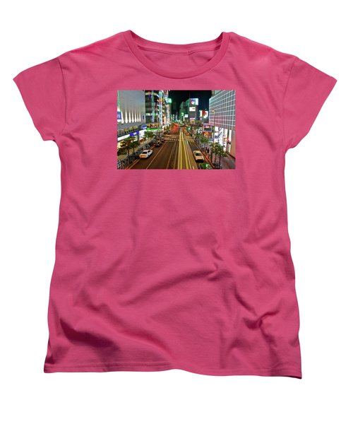 Women's T-Shirt (Standard Cut) featuring the photograph Tokyo Neon Streaks by Jonah  Anderson