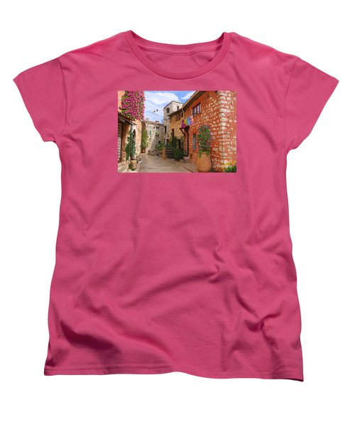 Women's T-Shirt (Standard Cut) featuring the painting Tourettes Sur Loup France by Tim Gilliland