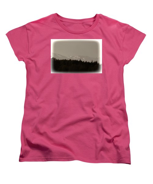 Treeline With Ice Capped Mountains In The Scottish Highlands Women's T-Shirt (Standard Cut) by Ashish Agarwal