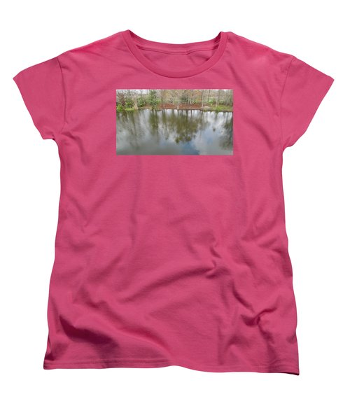 Women's T-Shirt (Standard Cut) featuring the photograph Trees And Water by Ron Davidson