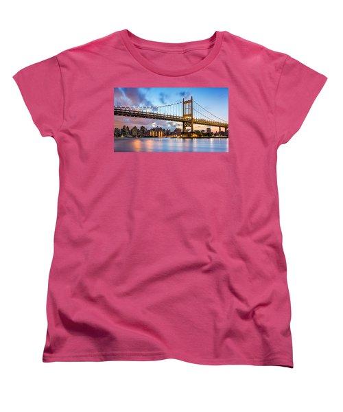 Women's T-Shirt (Standard Cut) featuring the photograph Triboro Bridge At Dusk by Mihai Andritoiu