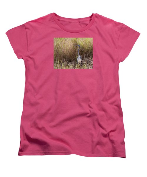 Tricolored Heron Peeping Over The Rushes Women's T-Shirt (Standard Cut) by John M Bailey
