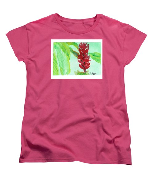 Women's T-Shirt (Standard Cut) featuring the painting Tropical Flowers 2 by C Sitton