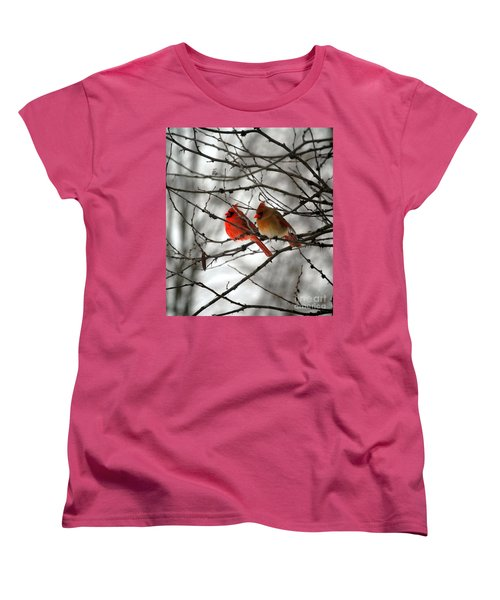 Women's T-Shirt (Standard Cut) featuring the photograph True Love Cardinal by Peggy Franz