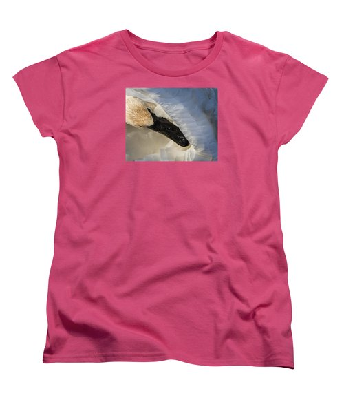 Women's T-Shirt (Standard Cut) featuring the photograph Trumpeter Swan - Safe Place by Patti Deters