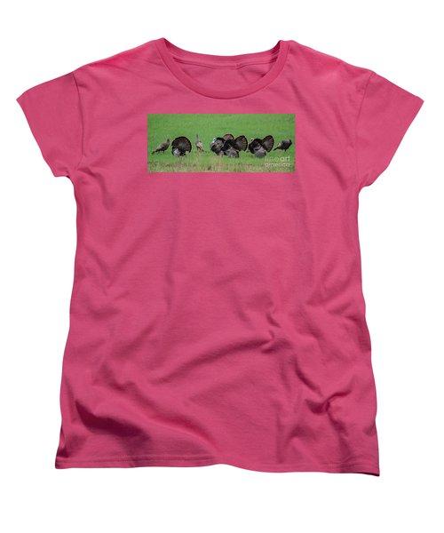 Turkey Mating Ritual Women's T-Shirt (Standard Cut) by Cheryl Baxter