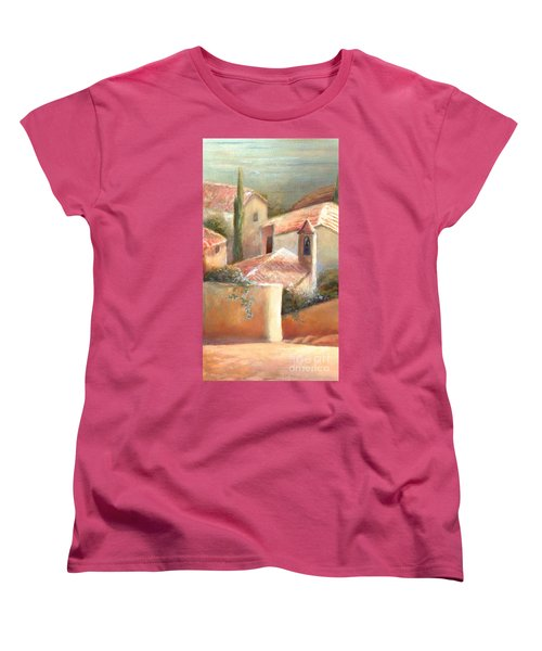 Women's T-Shirt (Standard Cut) featuring the painting Tuscan Village by Michael Rock