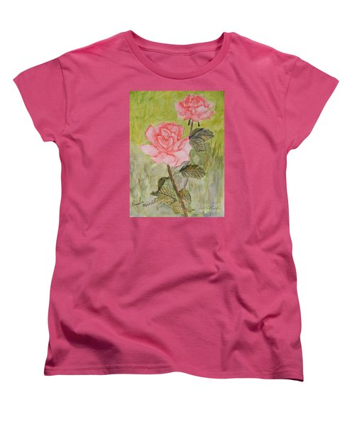 Two Pink Roses Women's T-Shirt (Standard Cut) by Pamela  Meredith