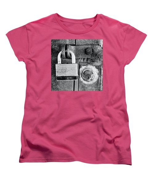 Two Rusty Old Locks - Bw Women's T-Shirt (Standard Cut) by David Perry Lawrence