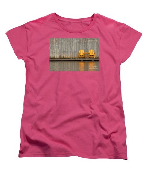 Two Wooden Chairs On An Old Dock Women's T-Shirt (Standard Cut) by Les Palenik