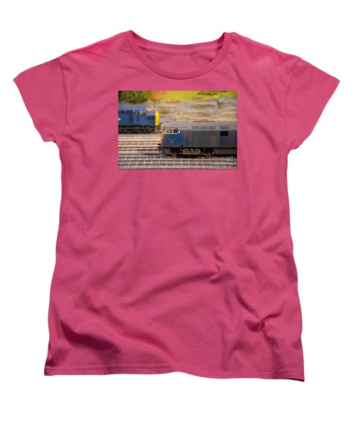 Women's T-Shirt (Standard Cut) featuring the photograph Two Yellow Blue British Rail Model Railway Train Engines by Imran Ahmed