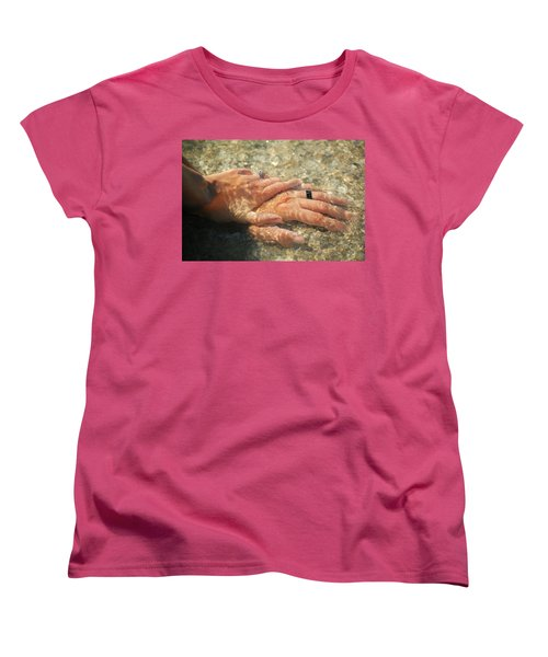 Women's T-Shirt (Standard Cut) featuring the photograph Underwater Hands by Leticia Latocki