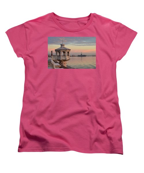 Uss Lexington At Sunrise Women's T-Shirt (Standard Cut) by Leticia Latocki