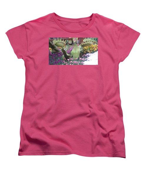 Women's T-Shirt (Standard Cut) featuring the photograph Vegas Butterfly Garden Flowers Cactus Romanti Interior Decorations by Navin Joshi