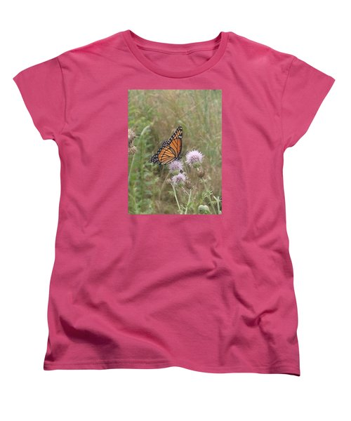 Women's T-Shirt (Standard Cut) featuring the photograph Viceroy On Thistle by Robert Nickologianis