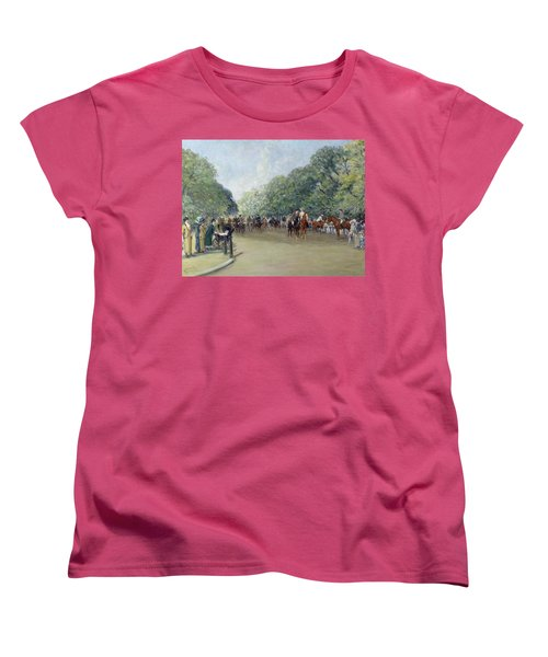View Of Hyde Park With Figures On Rotten Row  Women's T-Shirt (Standard Cut) by Albert Jnr Ludovici