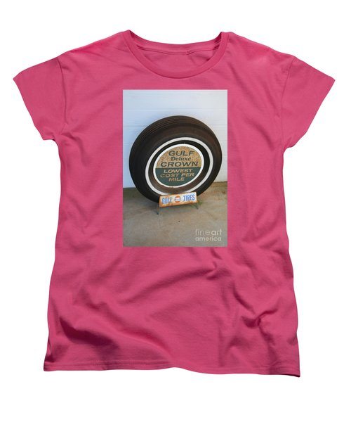 Women's T-Shirt (Standard Cut) featuring the photograph Vintage Gulf Tire With Ad Plate by Lesa Fine