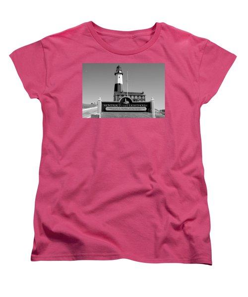 Vintage Looking Montauk Lighthouse Women's T-Shirt (Standard Cut) by John Telfer