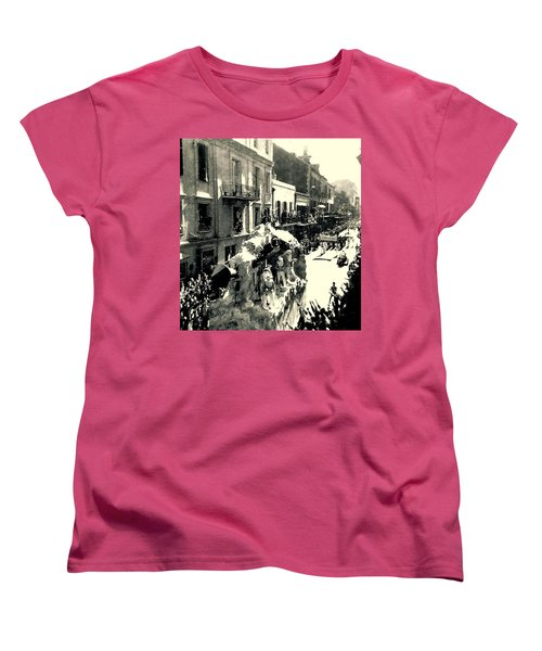 Women's T-Shirt (Standard Cut) featuring the photograph New Orleans Vintage Mardi Gras In The French Quarter Of  Louisiana  1960 by Michael Hoard