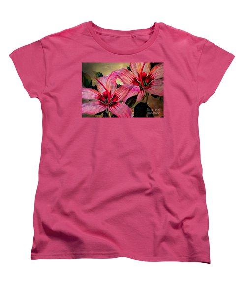 Vintage Painted Pink Lily Women's T-Shirt (Standard Cut) by Judy Palkimas