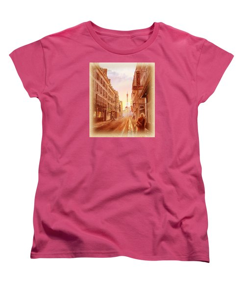 Women's T-Shirt (Standard Cut) featuring the painting Vintage Paris Street Eiffel Tower View by Irina Sztukowski