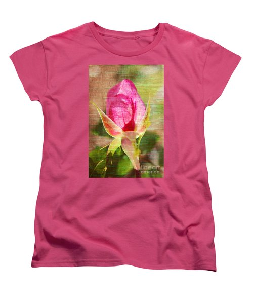 Women's T-Shirt (Standard Cut) featuring the photograph Vintage Pink Rose Bud by Judy Palkimas