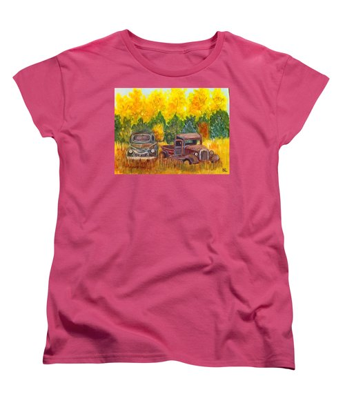 Women's T-Shirt (Standard Cut) featuring the painting Vintage Trucks by Belinda Lawson
