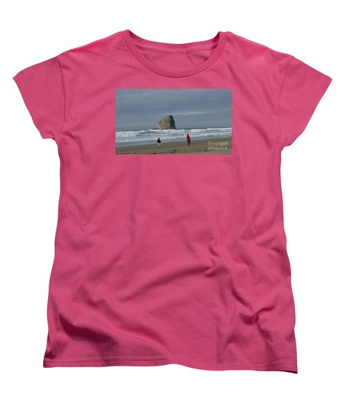 Women's T-Shirt (Standard Cut) featuring the photograph Walking On The Beach by Susan Garren