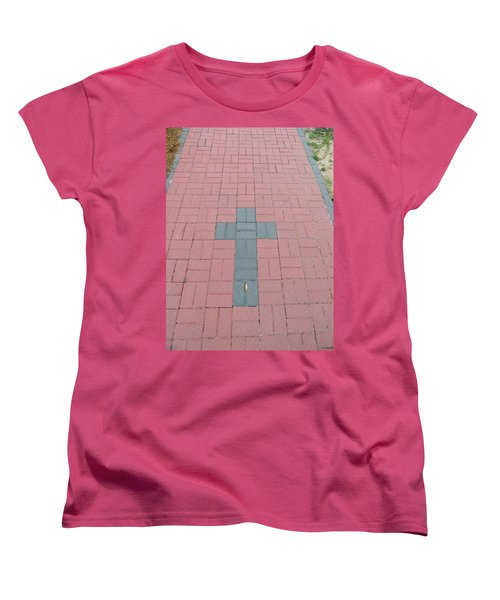 Women's T-Shirt (Standard Cut) featuring the photograph walkway of Faith by Aaron Martens